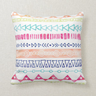 Colorful Hand Drawn Watercolor Tribal Pillow