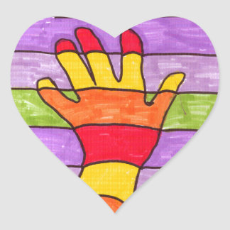 Colorful Hand Heart Sticker