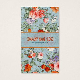 Colorful Hand Painted Retro Flowers-Blue Version Business Card
