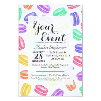 Colorful Hand Painted Watercolor Macaroon Cookies Card