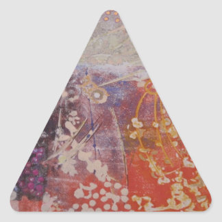Colorful Hand Printed Design Triangle Sticker
