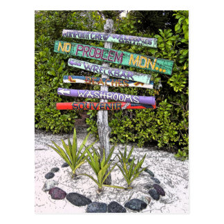 COLORFUL HANDMADE WOODEN SIGNS /RUM PT., GR.CAYMAN POSTCARDS