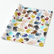 Colorful Handprints Gift Wrap Paper
