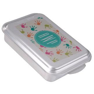 Colorful Handprints Monogram Teacher Cake Pan