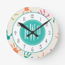 Colorful Handprints Monogram Teacher Round Clock