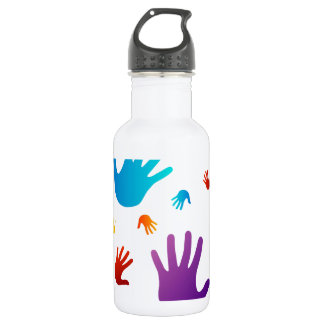 colorful hands 18oz water bottle