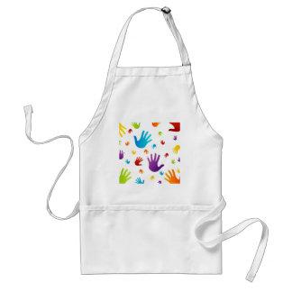 colorful hands adult apron