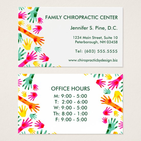Colorful Hands Office Hours Chiropractor Business Card