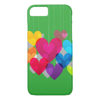 Colorful Hanging Hearts iPhone 7 Case