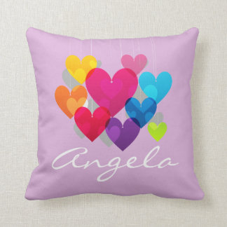 Colorful Hanging Hearts Personalized Throw Pillow