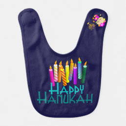 Colorful Hanukah Candles Baby Bib