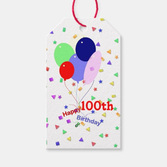Colorful Happy 100th Birthday Balloons Gift Tags