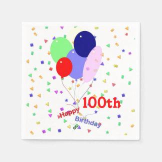 Colorful Happy 100th Birthday Balloons Napkin