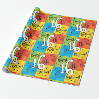Colorful Happy 16th Birthday Wrapping Paper