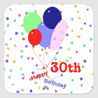 Colorful Happy 30th Birthday Balloons Square Stickers