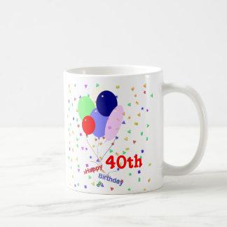 Colorful Happy 40th Birthday Balloons Classic White Coffee Mug