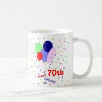 Colorful Happy 70th Birthday Balloons Coffee Mug