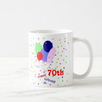 Colorful Happy 70th Birthday Balloons Coffee Mug