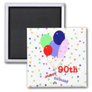 Colorful Happy 90th Birthday Balloons 2 Inch Square Magnet
