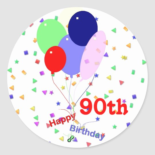 Colorful Happy 90th Birthday Balloons Classic Round Sticker