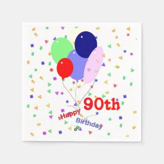 Colorful Happy 90th Birthday Balloons Napkin