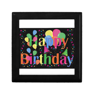 Colorful Happy Birthday and Balloons Keepsake Box