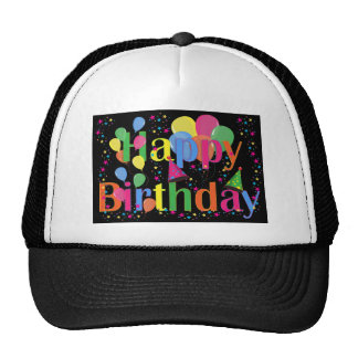 Colorful Happy Birthday and Balloons Trucker Hat