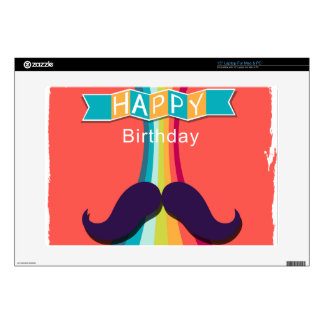 """Colorful Happy Birthday and Mustache Decal For 15"""" Laptop"""