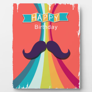 Colorful Happy Birthday and Mustache Plaque