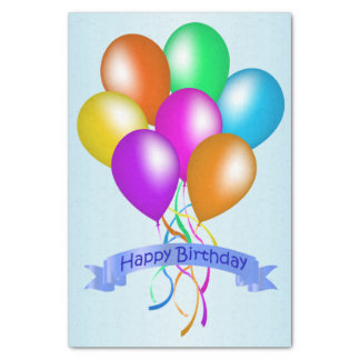 """Colorful Happy Birthday Balloons Banner Party 10"""" X 15"""" Tissue Paper"""