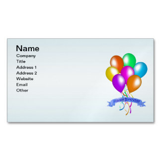 Colorful Happy Birthday Balloons Banner Party Magnetic Business Card