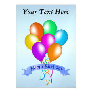 Colorful Happy Birthday Balloons Banner Party Magnetic Card
