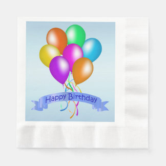 Colorful Happy Birthday Balloons Banner Party Paper Napkin