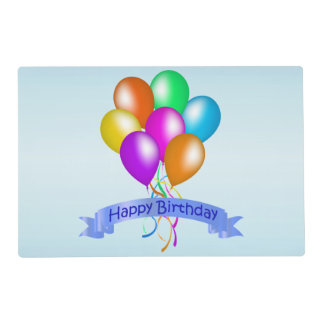 Colorful Happy Birthday Balloons Banner Party Placemat
