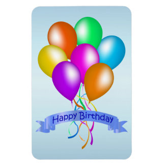 Colorful Happy Birthday Balloons Banner Party Rectangular Photo Magnet