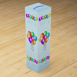 Colorful Happy Birthday Balloons Banner Party Wine Gift Box