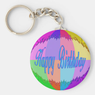 Colorful Happy Birthday Basic Round Button Keychain