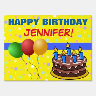 Colorful Happy Birthday Cake Balloons Custom Name Yard Sign