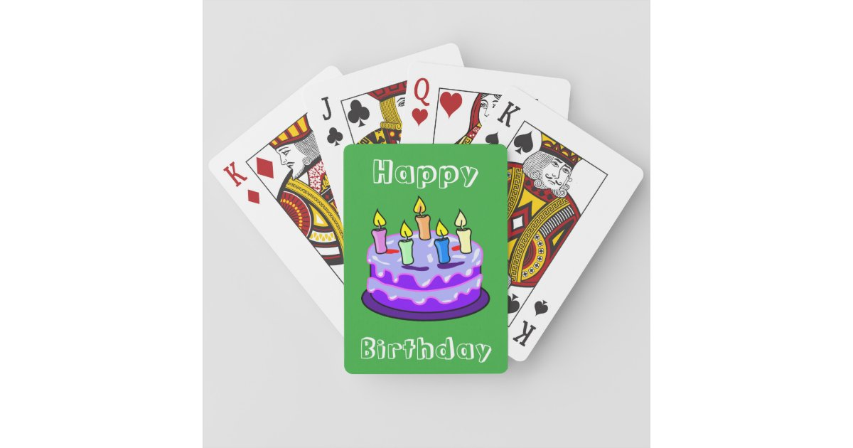 Colorful Happy Birthday Cake Fun Cute Trendy Playing Cards Zazzle Com