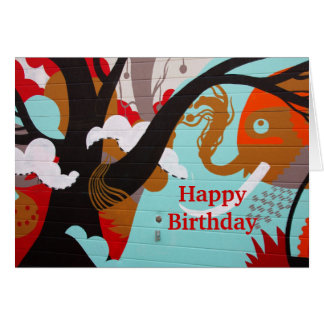 Colorful Happy Birthday Card Elephant Graffiti