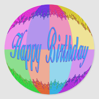 Colorful Happy Birthday Classic Round Sticker