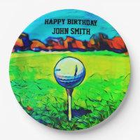 Colorful Happy Birthday Golfing Plates