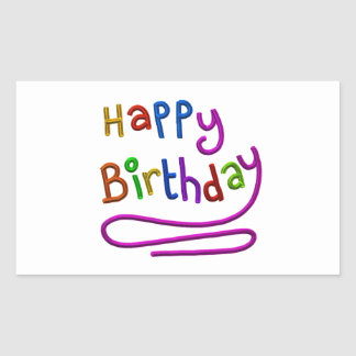 Colorful Happy Birthday Greeting Rectangular Sticker