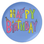 Colorful Happy Birthday Illustration Dinner Plates