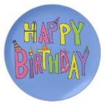 Colorful Happy Birthday Illustration Dinner Plates