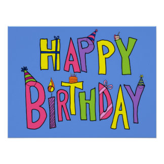 Colorful Happy Birthday Illustration Poster