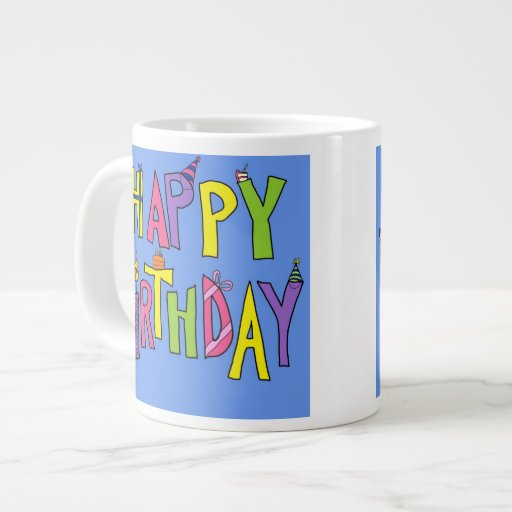 Colorful Happy Birthday Illustration Extra Large Mugs