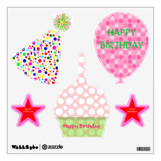 Colorful Happy Birthday Multicolor Pink Polka Dot Wall Sticker