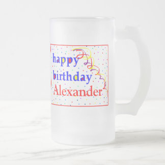 Colorful Happy Birthday Personalized Frosted Glass Beer Mug