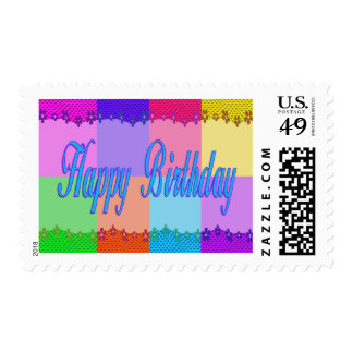 Colorful Happy Birthday Stamps
